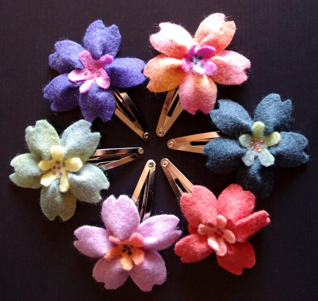 Felt blossoms hair clip