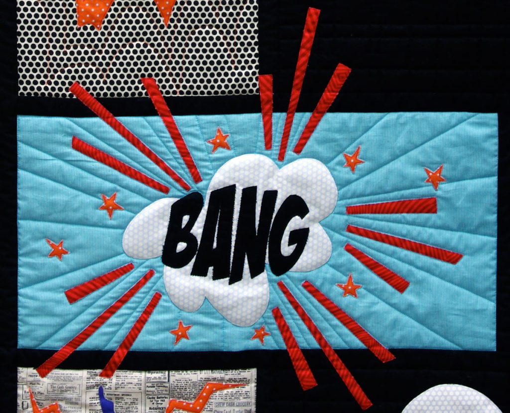 Bang - Detail of Comic Quilt by Matching pegs