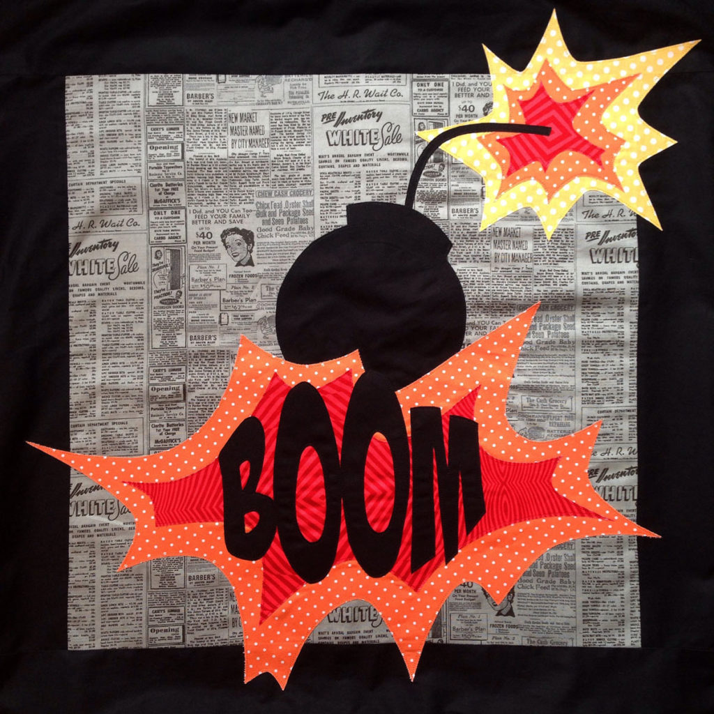 Boom detail - Comic Cushions - Pattern by Matching Pegs