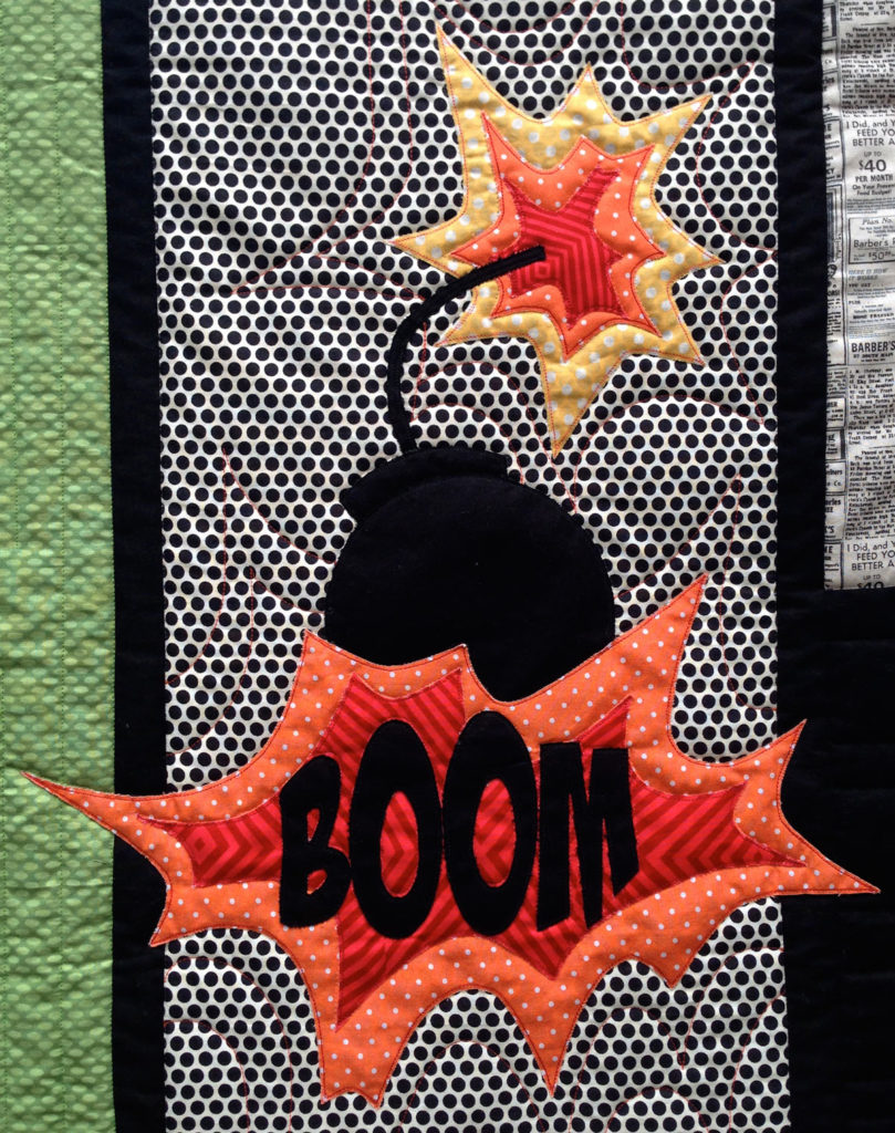 Boom - Detail of Comic Quilt by Matching pegs
