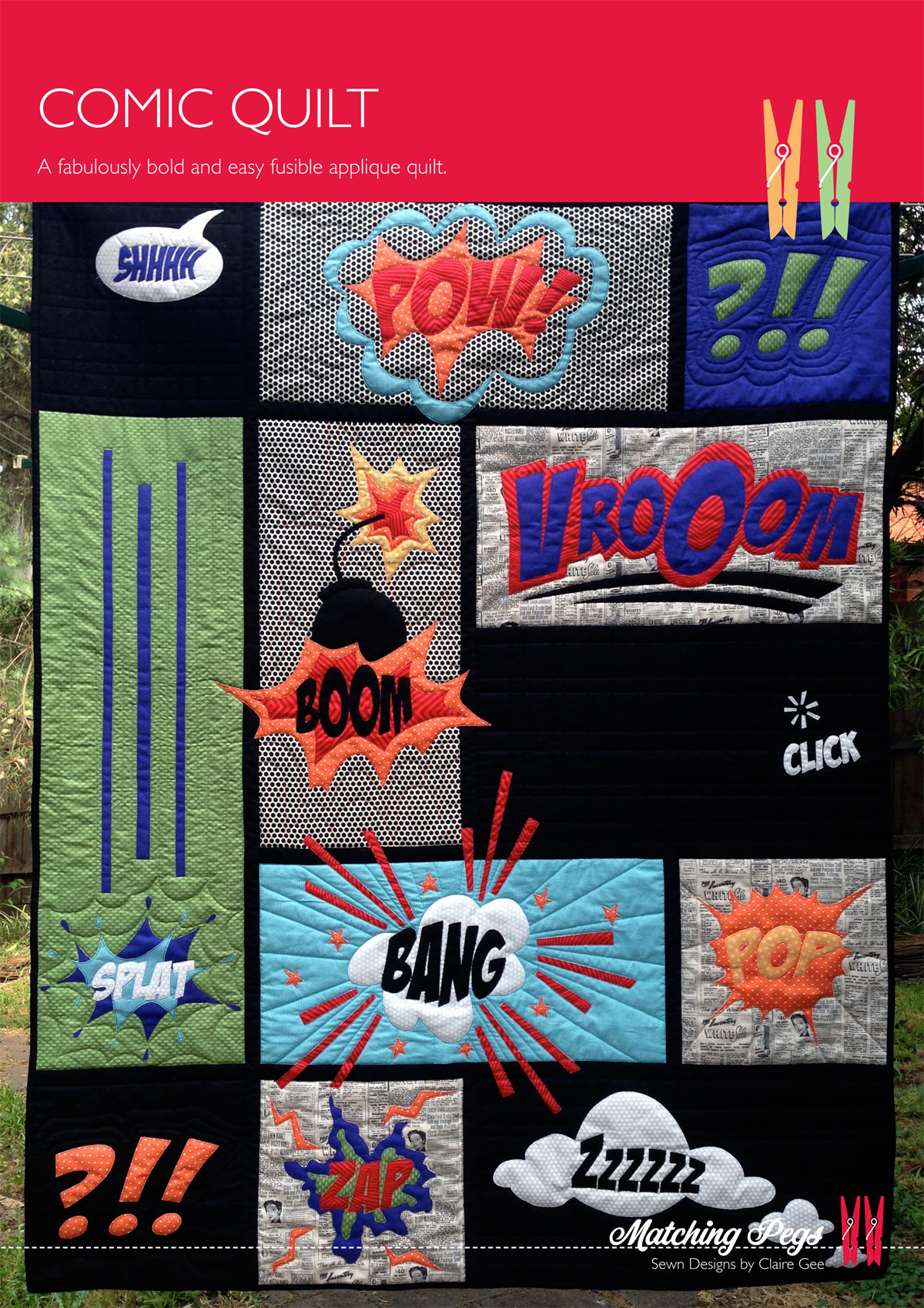 Comic Quilt Matching Pegs