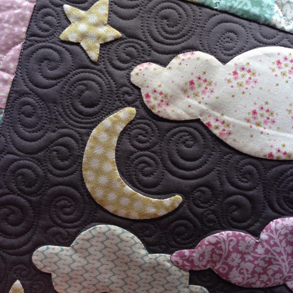 Close Up Moon detail - Hush Quilt Cover - Pattern by Matching Pegs