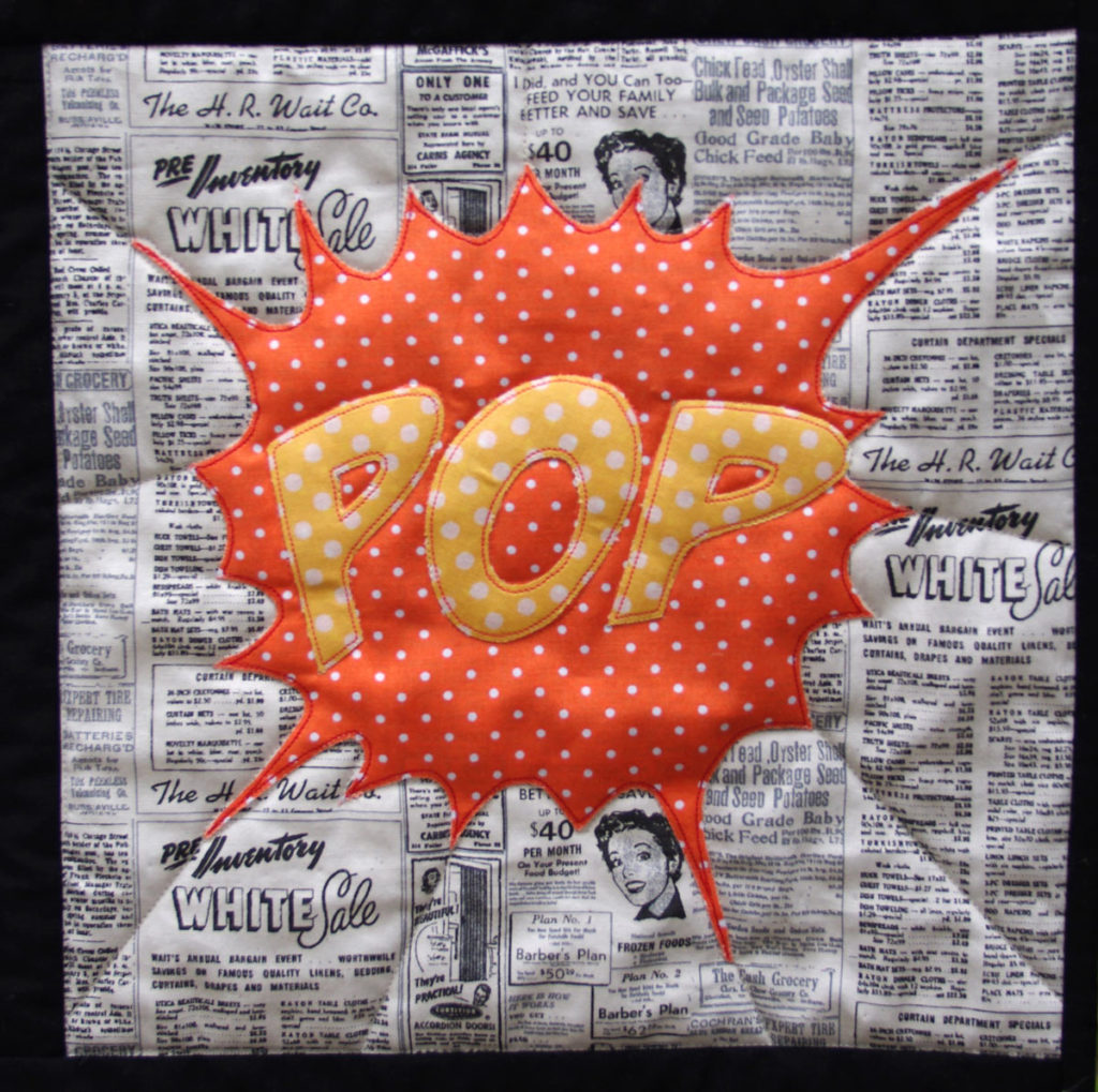 Pop - Detail of Comic Quilt by Matching pegs